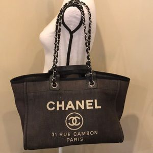 3f60279042cd CHANEL Denim Large Deauville Shopping Tote Bag
